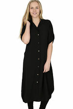 Ladies PLUS SIZES Midi Shirt Split Side Collar Party Abaya Maxi Dress S - XXXXL
