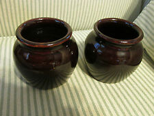 VTG USA Set of 2 Mini Brown Bean Pots Jars Pottery