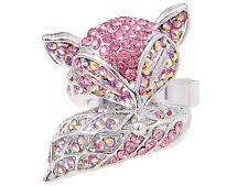 Lady Light Pink Rose Crystal Rhinestone Silver Tone Foxy Fox Custom Ring