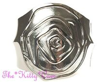Silver Rhodium Plt Chunky Statement Carved Rose Flower Floral Hinged Bangle Cuff