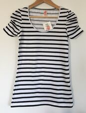 NEW ZARA TRAF BLACK WHITE BRETON STRIPE ROUCHED FITTED TEE TOP TSHIRT MEDIUM C44