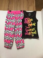"EUC ""GORGEOUS COLORS"" Justice Pajama Top & Capris/Pants Set 10 Kids/Girls 2Pcs"