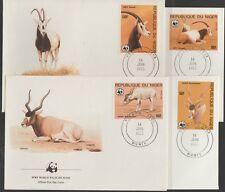 v1902 Niger/ WWF 1985  Antilopen   MiNr 941/44 auf 4 FDC