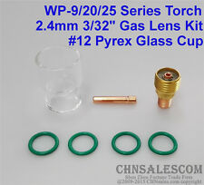 7 pcs TIG Welding Torch Gas Lens #12 Pyrex Cup Kit  for WP-9/20/25 Series 3/32""