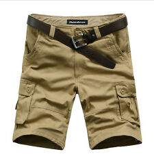 Mens Casual Relaxed Slim Fit Cotton Solid Multi-Pocket Cargo Shorts Short Pants