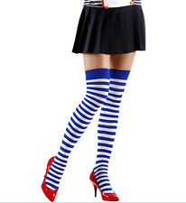 WOMAN'S SAILOR STRIPED OVER THE KNEE SOCKS  ROYAL BLUE AND WHITE TIGHTS