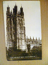 Vintage Real Photo Postcard Wrexham Parish Church From S. W. (32606) with stamp