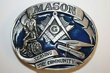 WOW 1992 Freemasons Fraternal Masonic Serving the Community Pewter Belt Buckle