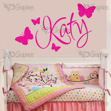 Personalised Name Butterfly Wall Art Girls Room Childrens Kids Sticker Vinyl