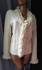 TALBOTS Women Sweater Cardigan Ivory Wool Blazer Jacket Corkscrew Fringe Sz L
