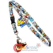 Pokemon Eevee Evolution Lanyard Key Chain All Over Print Key ID Ticket Holder
