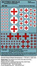 SKYTREX DECALS German Red Cross Markings 1/76,20mm Scale -AD84