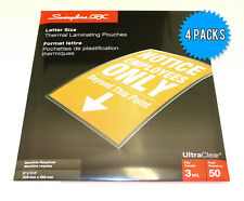 """GBC Letter Size (9"""" x 11.5"""") 3Mil Thick Thermal Laminating Pouches - 4 x 50 Pack"""