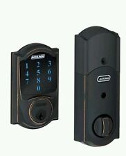 Schlage Connect Camelot Touchscreen Deadbolt with Built-In Alarm, Aged Bronze
