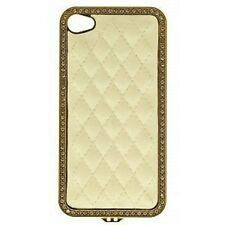PROTECTION COQUE ARRIERE STRASS ET MATELASSEE BLANCHE TELEPHONE APPLE IPHONE4