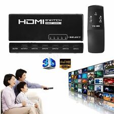 5 Port HDMI Selector Splitter Switch Switcher 1080P For PS4 HDTV Monitor +Remote