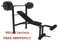 CAP BARBELL DELUXE STANDARD BENCH WITH 100 LB WEIGHT SET LIFTING