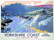 PRINT TRAVEL TOURISM YORKSHIRE WHITBY ENGLAND UK STEAM TRAIN GULLS SEA NOFL1266