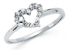 14K Genuine White Gold Fancy heart Ring with Man made Diamonds