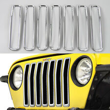 7x Chrome Front Inserts Grille Grill Cover Trim For 1997-2006 Jeep Wrangler TJ