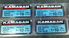 4 packs KAMASAN TREBLE HOOKS SEMI-BARBED SIZES 10  PREMIUM  SNAPS PIKE