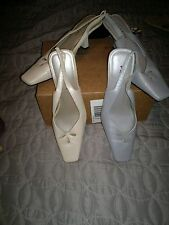 2 PAIR of SHOEs  sz 10  PERWINKLE  & BEIGE   PARADE  LEATHER UPPER  SLINGBACKS