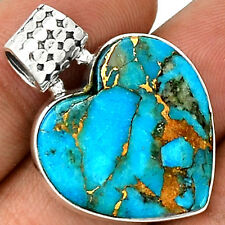Heart - Copper Blue Turquoise 925 Sterling Silver Pendant Jewelry PP22674