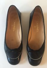 Authentic Black Chanel Leather Toe Logo Flat shoes ballerina Size 38 8 B