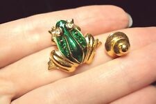 little green Frog white rhinestone eyes gold tone tac pin brooch figural frogs
