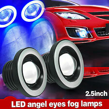 "2x 30W 2.5"" Car LED Fog Light Projector w/ Blue Halo Angel Eye Ring Driving Bulb"