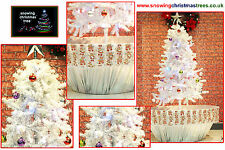 Snowing Christmas Tree 1.7 M Silver Flower Pot Base | Beautiful Patterned Skirt