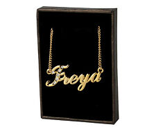 "Name Necklace ""FREYA"" - 18ct Gold Plated - Swarovski Elements - Name Plate Gifts"