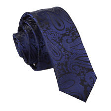 Men's Paisley Skinny Woven Microfibre Evening Work  Wedding Groom Tie