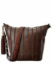 Michael Kors Brooklyn Large Applique Leather Feed Bag Hobo (Coffee)