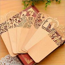 2PCS Delicate Hollow Out Bookmark For books Wood bookmarks Yellow 2016 Cute