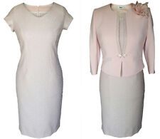 MOTHER OF THE BRIDE GROOM OUTFIT JACKET DRESS 2 PIECE SIZE 16 BLUSH DUSTY PINK