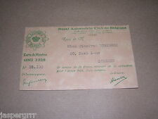 1928. ROYAL AUTOMOBILE CLUB de BELGIQUE. MEMBERSHIP CARD. MOTORING MEMORABILIA