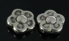 50 Flat Flower Antique Silver Metal Plated Beads 12mm