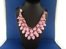 BUBBLE NECKLACE COLOR PINK WITH GOLD CHAIN ADJUSTABLE STYLE