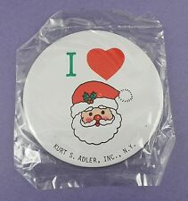 Kurt S. Adler - I Love Santa Badge, Large Tin Badge - Original c1960s Sealed