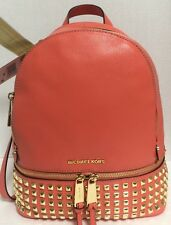 NEW Michael Kors MD Rhea Zip Gold Studded Grapefruit Leather Backpack Handbag