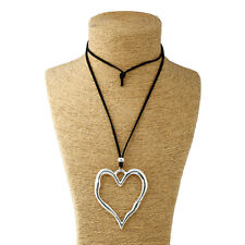Long Suede Necklace Lagenlook Statement Abstract Alloy Metal Large Heart Pendant