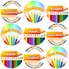 144 Positive Pencils 30mm Children's Reward Stickers for Teacher, Parent