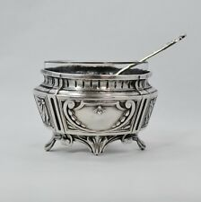 French 950 Sterling Silver Salt Cellar & Spoon - Minerva Hallmarks C 1920
