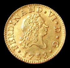 1758 M JB GOLD SPAIN 1/2 ESCUDO FERDINAND VI COIN UNC CONDITION MADRID MINT