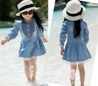 Girl Kids Spring Summer Denim Blue Lace Cowboy Clothes Long Sleeve Dress 2-8Y