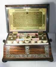 Mother-of-Pearl Tools & INLAID SEWING BOX MAHOGANY& silk Original ANTIQUE c1700