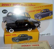DINKY TOYS ATLAS PEUGEOT 403 NOIRE version sans glace 1/43 REF 24B IN BOX