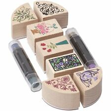 Corner Border Flower Wooden Rubber Stamp Scrapbook Card Making Craft Set