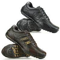 Mens Leather Lace Up Casual Gym Sport Walking Running Driving Trainers Shoe Size